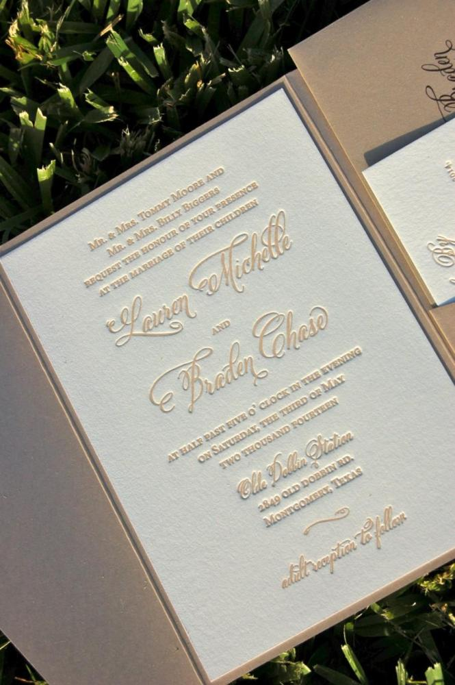 Fawn And Champagne Wedding Invitation Letterpress