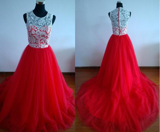 Red Prom Dress Long Prom Gown Ball Gown Dress Lace Prom