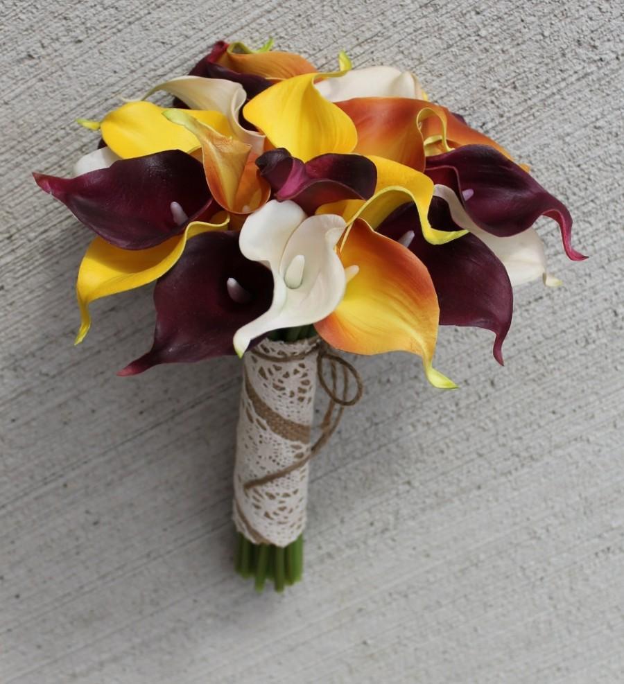 Fall Wedding Bouquet Calla Lily Bouquet Orange Bouquet