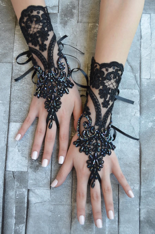 Black Wedding Glove Bridal Glove Black Lace Cuffs Lace