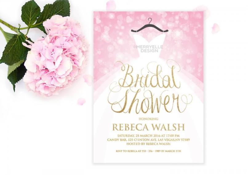 Wedding dress shower invitations invitationjpg wedding dress bridal shower invitation pink and gold filmwisefo