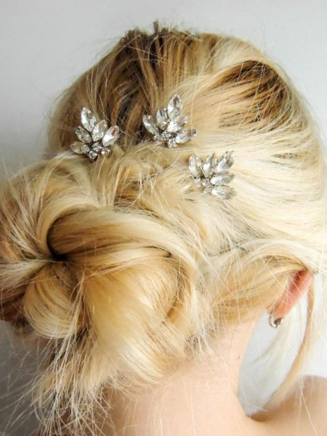 set of 3/ swarovski crystal hair pins/ hair pins/ bridal