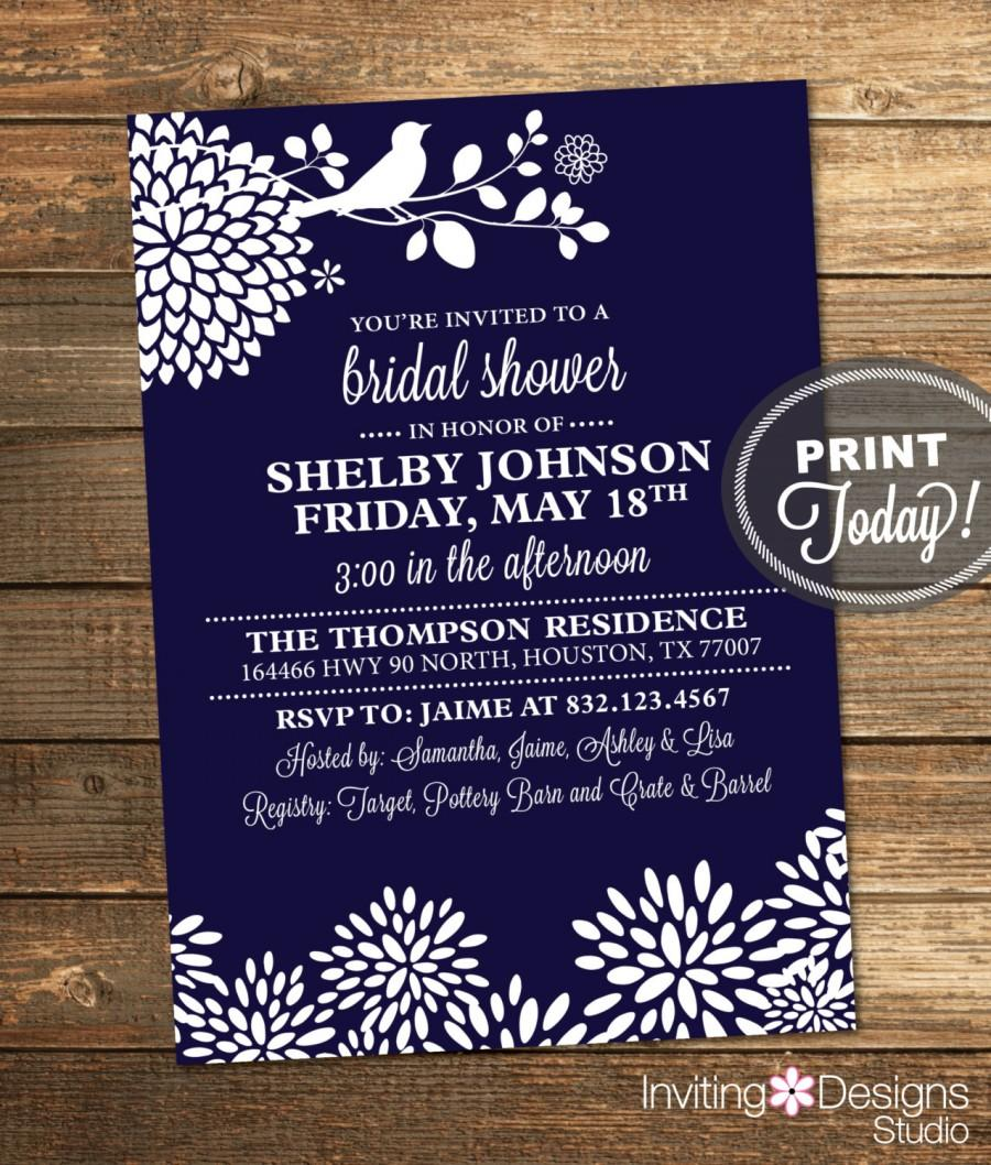 We may earn commission on some of the items you choose to buy. Navy Blue Bridal Shower Invitation Bird Floral Modern Printable Custom Order Instant Download 2559428 Weddbook