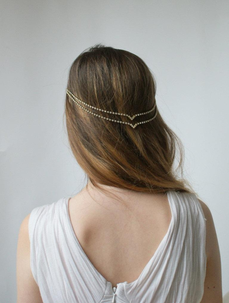 wedding hair chain bohemian bridal crystal head chain wedding headpiece simple chain headpiece in silver or gold uk