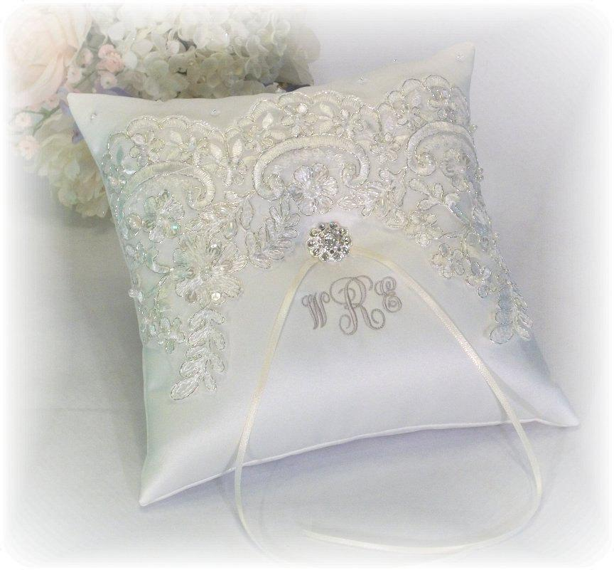 ring bearer pillow ivory with silver thread ivory ring bearer pillow monogrammed ring bearer pillow personalized ring bearer pillow 2564129 weddbook
