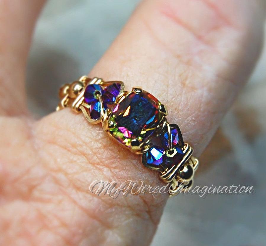 Vitrail Dark Vintage Swarovski Crystal Hand Crafted Wire
