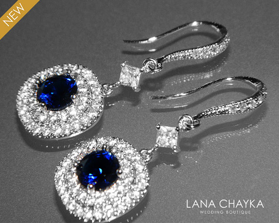 Cubic Zirconia Bridal Earrings Navy Blue Silver Cz Wedding Clear Dangle Chandelier