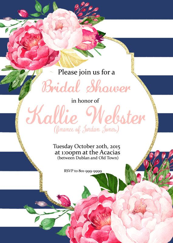 pink floral stripes invitation bridal shower baby shower brunch birthday can be changed to anything party invite digital download 2569975 weddbook