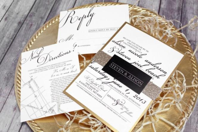 Black White Gold Wedding Invitation Set Classic Modern