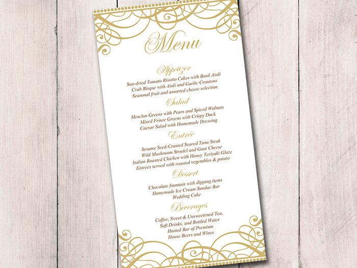 Gold Wedding Menu Card Template Wedding Reception Menu