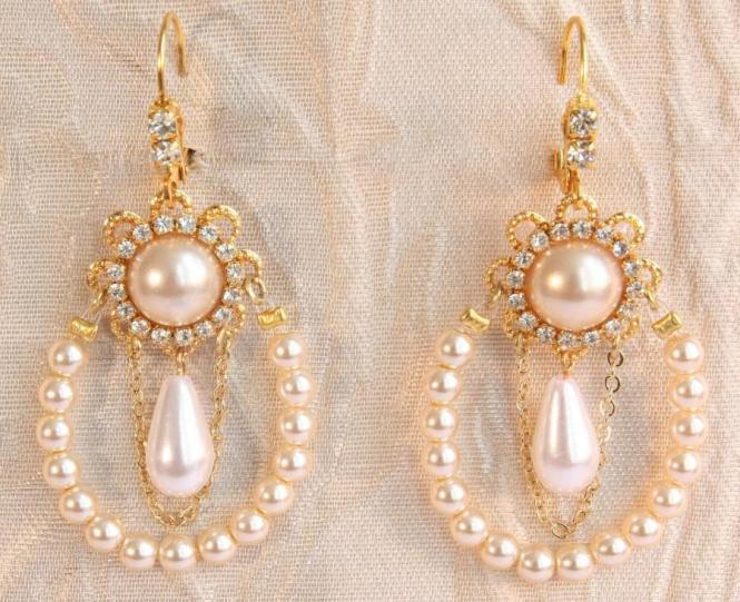Bridal Pearl Chandelier Earrings Row Of Ivory Pearls Gold Weddings Victorian Statement Rhinestone Crystals