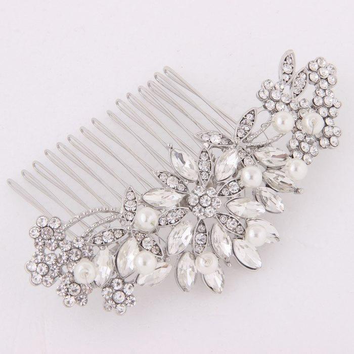 boho crystal bridal hair comb pearls rhinestones decorative wedding hair piece bridal hair clip accessories wedding jewelry headpiece bride