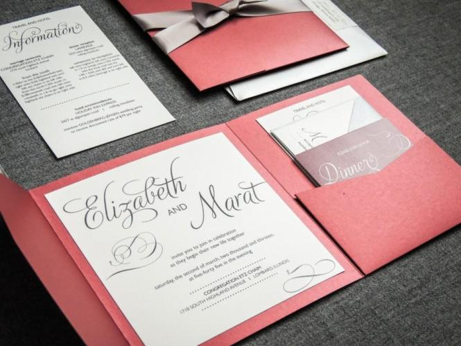 Winter Wedding Invitations Red Black Silver And White
