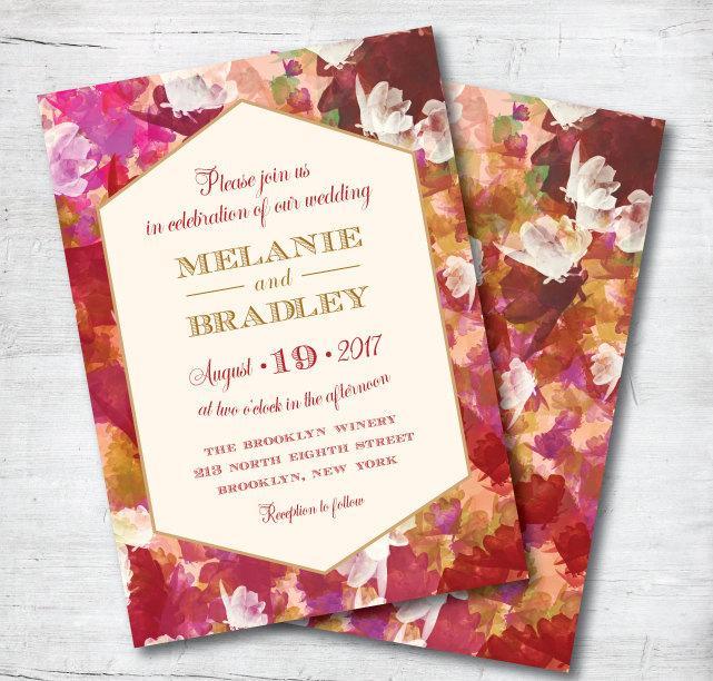 Winter Elegant Red And Gold Wedding Invitations Ideas