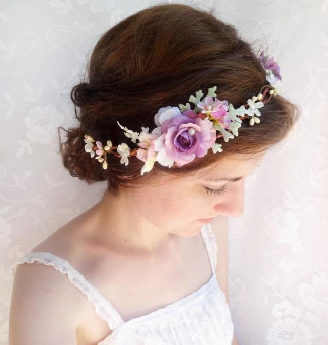 purple flower crown, purple hair accessories, purple