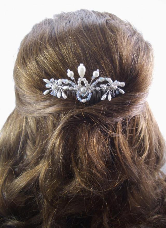 bridal hair comb, fft original design, crystals pearls