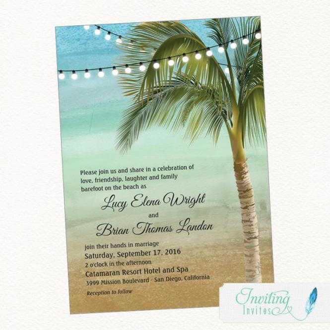 Beach Wedding Invitation Tropical Palm