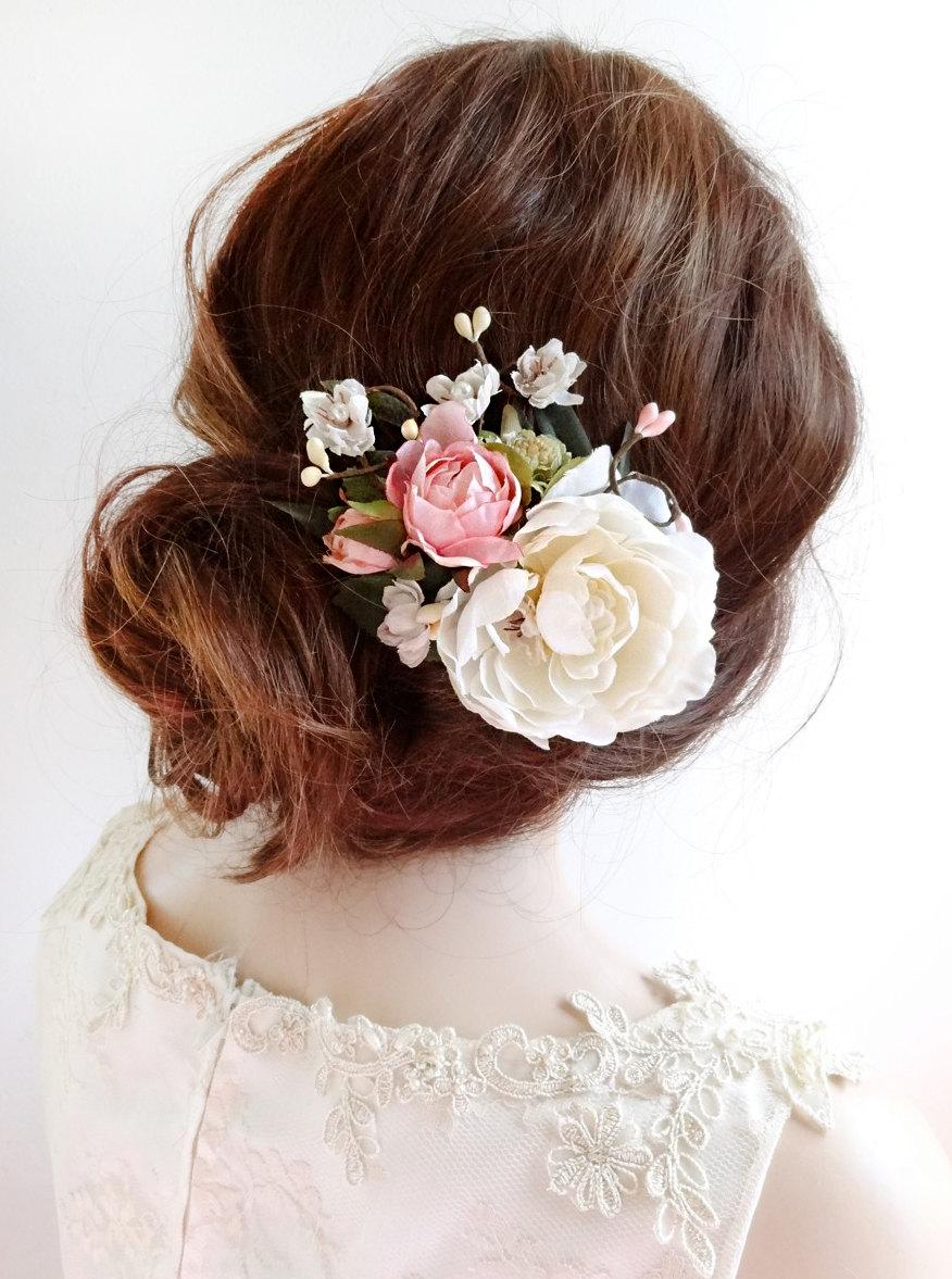 bridal hair clip floral hair clip bridal hair piece floral hair comb bridal hair flower ivory flower hair clip pink rose garden wed