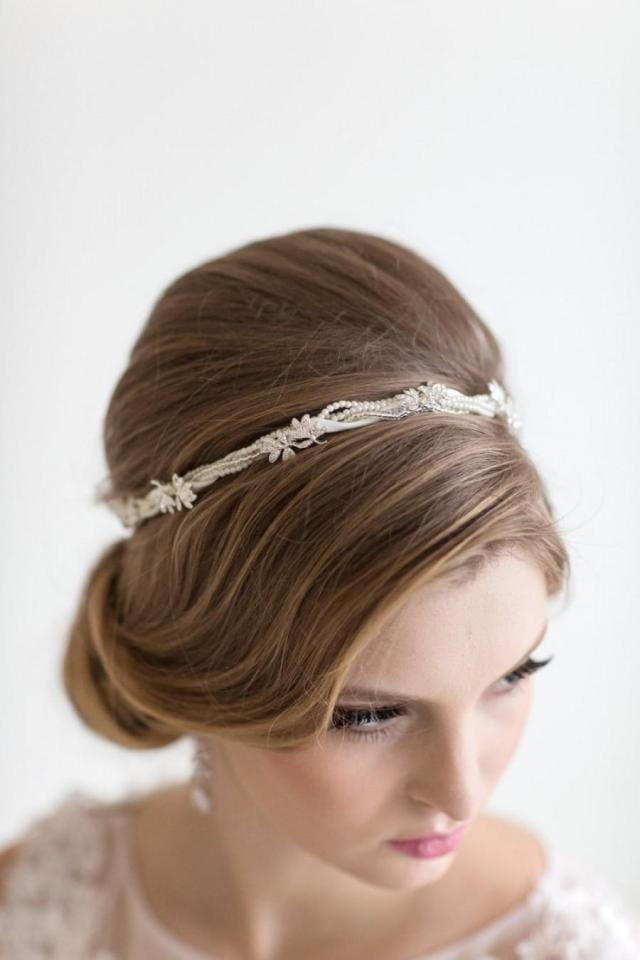 bridal headband, bridal ribbon headband, wedding hair