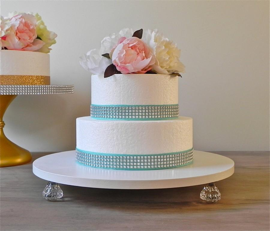 14 Inch Wedding Cake Stand Cupcake Bling White Cake Stand Silver     14 inch Wedding Cake Stand Cupcake Bling White Cake Stand Silver Wedding  Decor E  Isabella Designs Featured In Martha Stewart Weddings