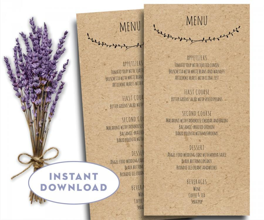 Printable Wedding Menu Template Kraft Menu Template 4 X