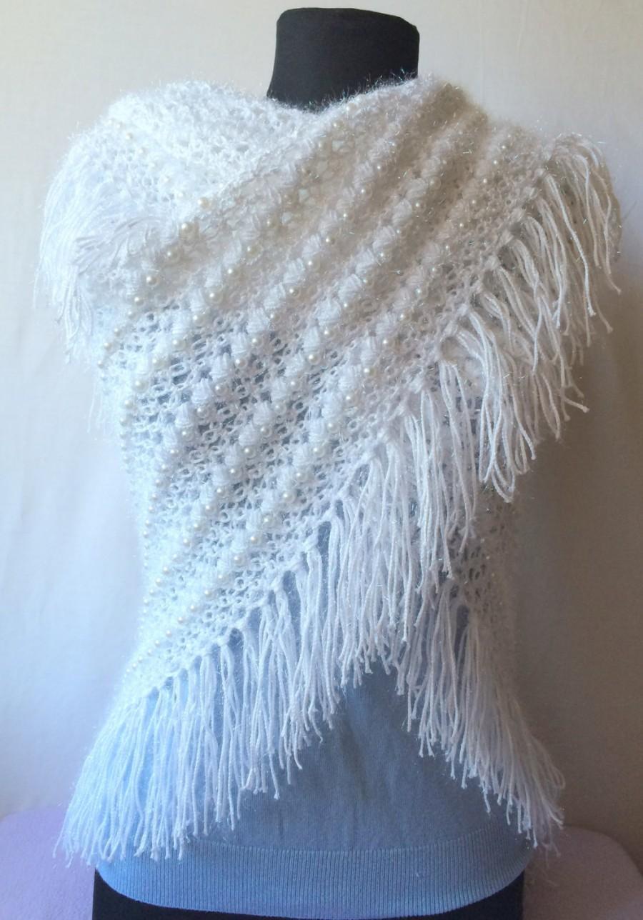 Crochet Wedding Shawl Handmade Triangle Shawl Lace