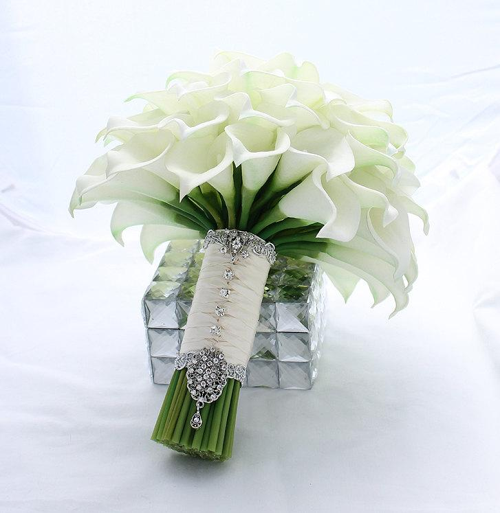 bridal bouquet real touch creamy white mini calla lily wedding bouquet bridal calla lilies bouquet wedding flowers bridal accessory