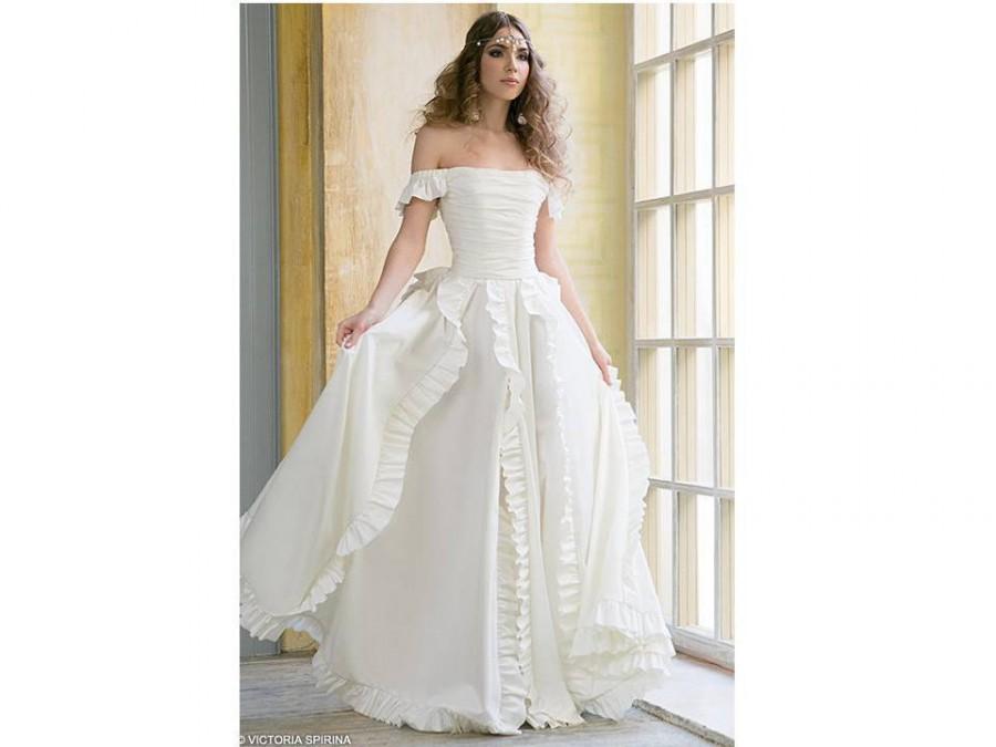 Leila-cotton Wedding Dress Beach Wedding Gown With Ruffles