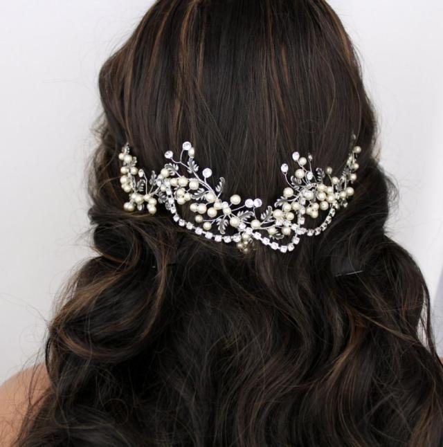 bridal hair vine, wedding headpiece, antique silver hair