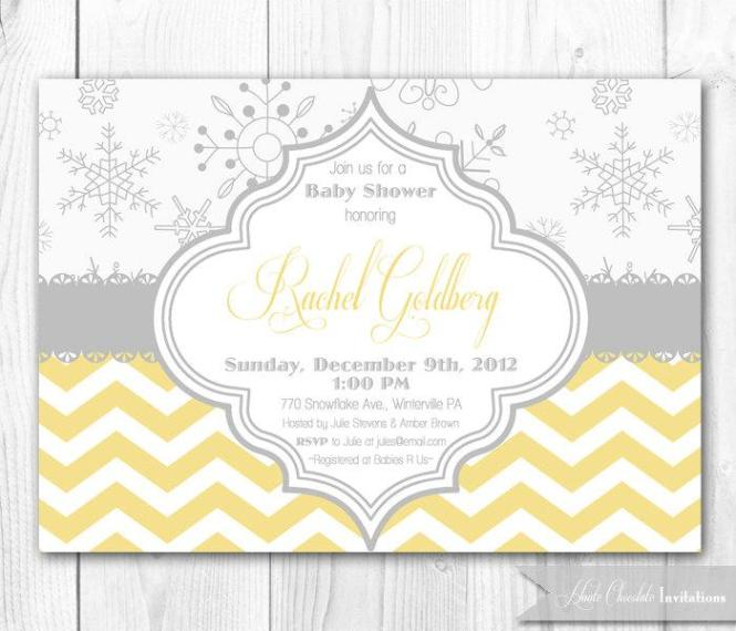 Snowflake Baby Shower Invitation In