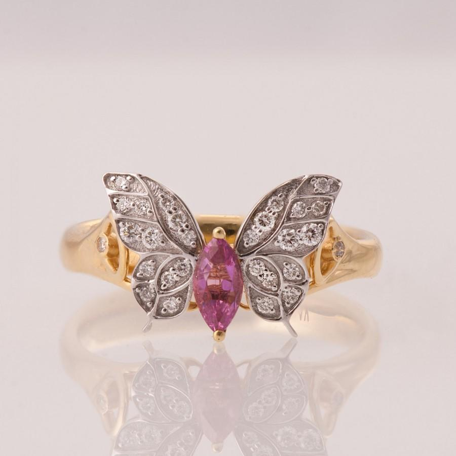 Butterfly Engagement Ring 14K Gold And Pink Sapphire