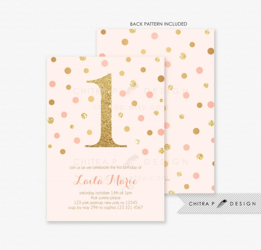 girl first birthday invitations printed pink gold little baby glitter blush confetti coral brunch 2nd 3rd 4th 5th 6th any age 078 2608351 weddbook