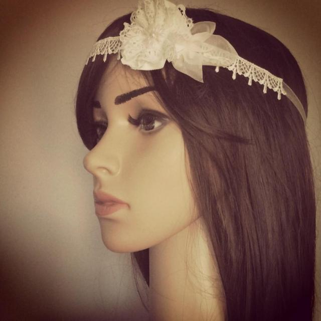 boho chic bridal headband, skinny wedding hairband, ivory