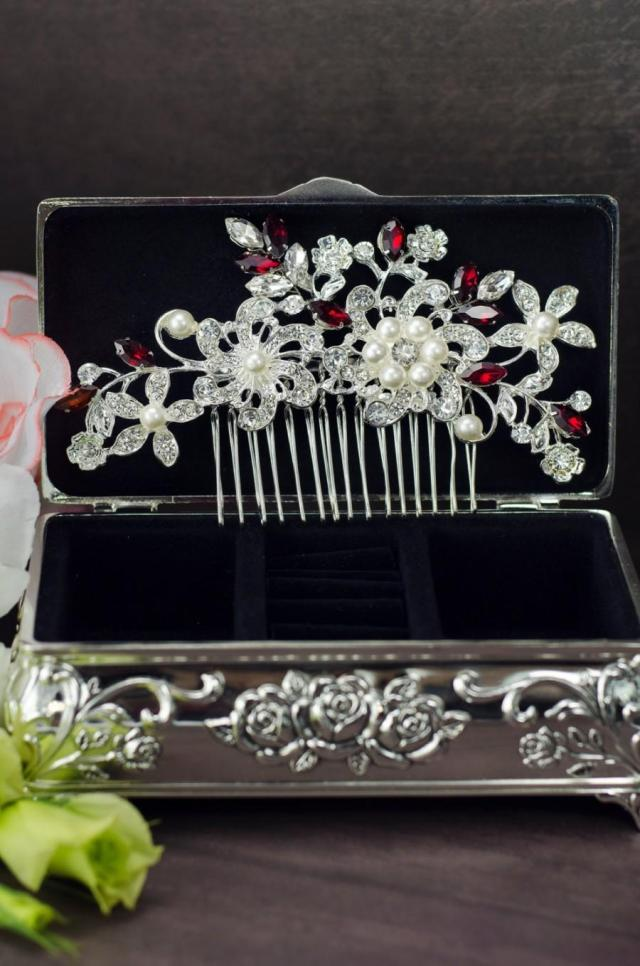 red crystal hair comb, red rhinestone hair comb, red hair