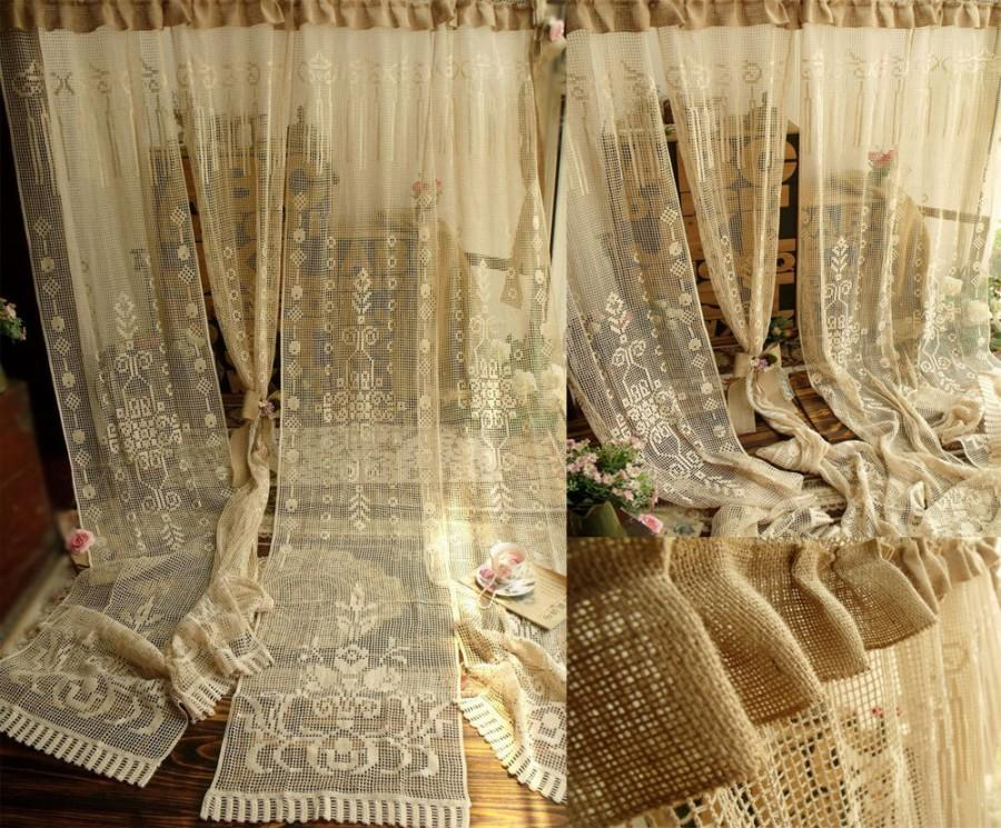 72 one antique rose french style victorian style french lace window curtain panel burlap ruffle cream 2617582 weddbook