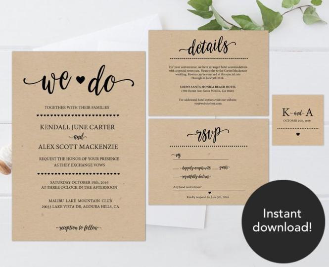Rustic Wedding Invitation Template
