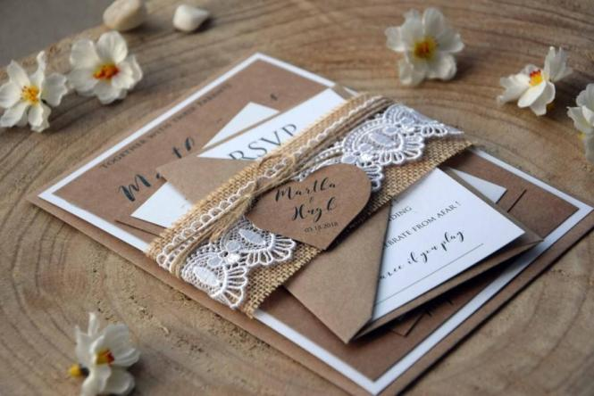 Burlap And Lace Wedding Invitation Kit Personalized