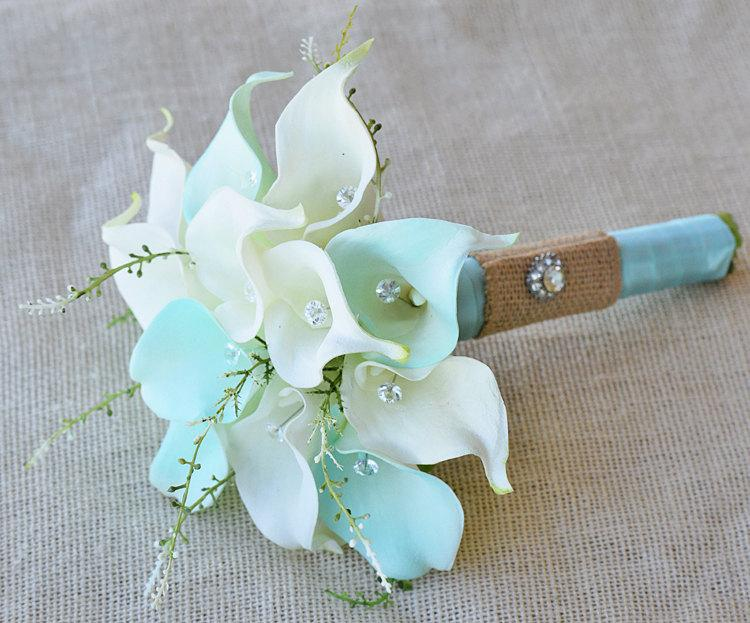 silk flower wedding bouquet mint aqua robbin s egg or aruba blue calla lilies natural touch with crystals and greens silk bridal bouquet