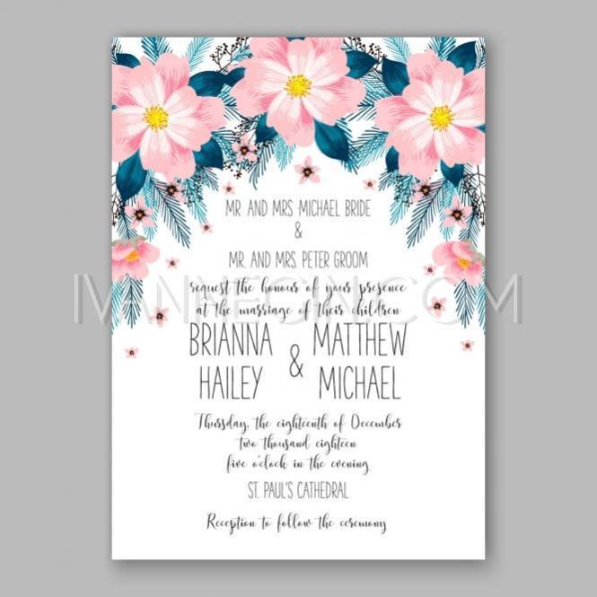 Peony Wedding Invitation Card Fl