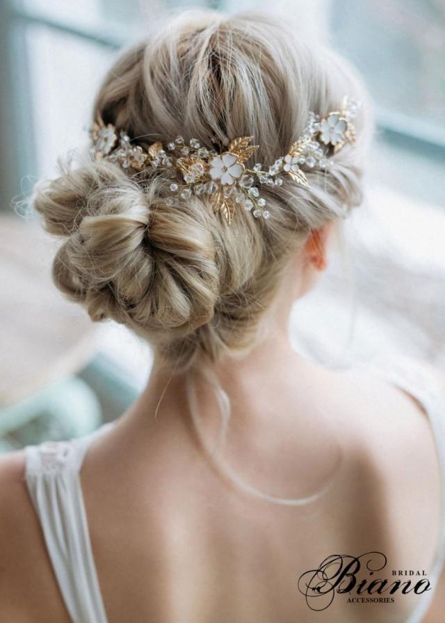 bridal hair comb, bridal headpiece, flowers hair comb