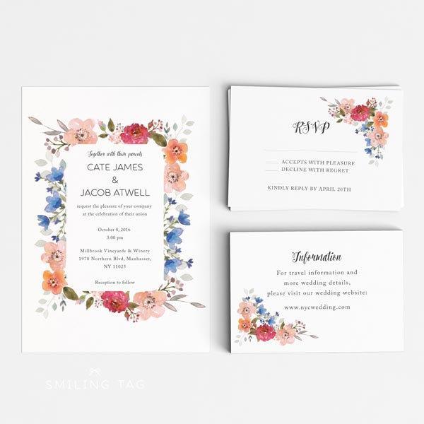 Printable Wedding Invitation Set Spring Garden Fl Invites Ready To Print Pdf Rsvp Card Letter Or A4 Size Item Code P612