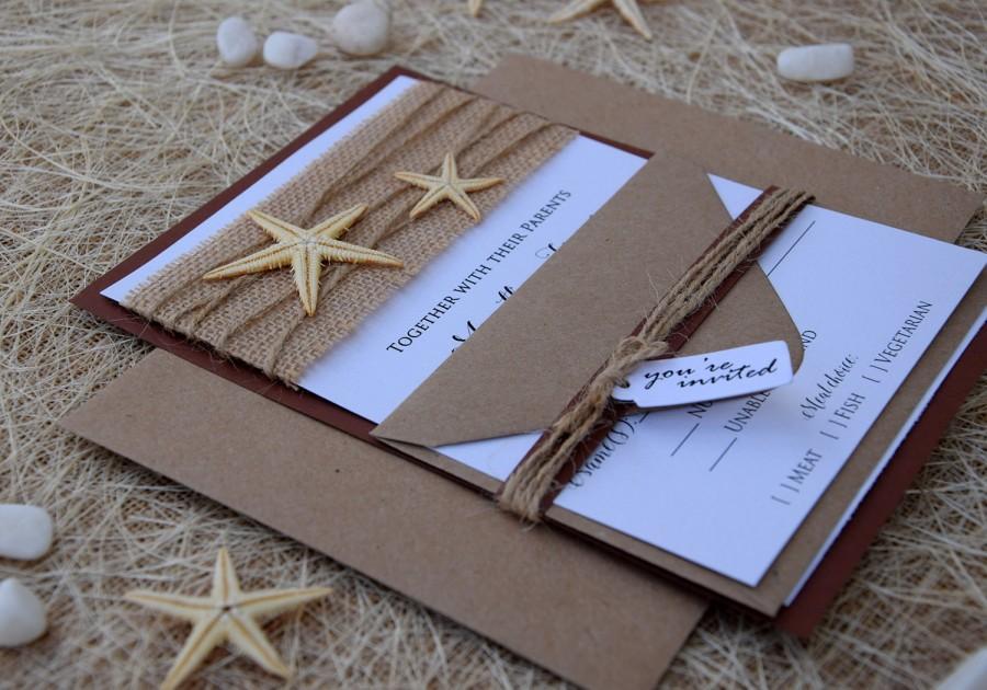 Beach Wedding Invitation Starfish Invitation Destination