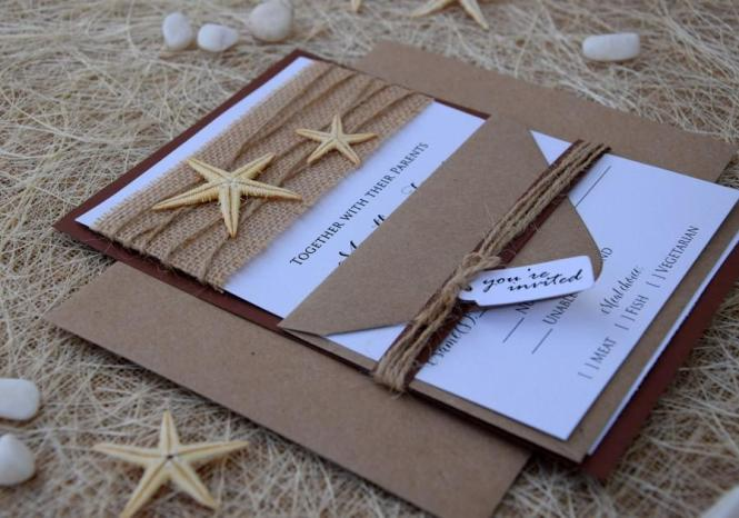 Beach Wedding Invitation Starfish Destination