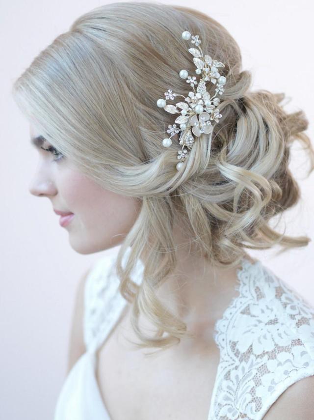 gold bridal hair clip, floral bridal hair clip, hair clips