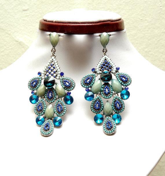 Blue Teal Chandelier Earrings Pea Style Crystal Bohemian Jewelry Statement