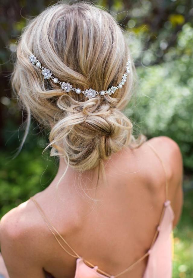 vintage style bridal hair chain comb, hair wrap, grecian