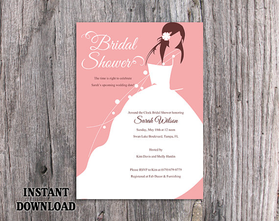 Diy Bridal Shower Invitation Template Editable Word File