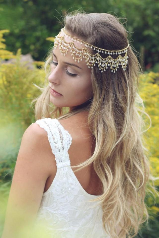 bridal headpiece, bohemian head chain, forehead indian