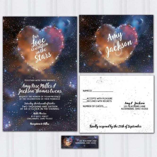Galaxy Wedding Invitations Stars And