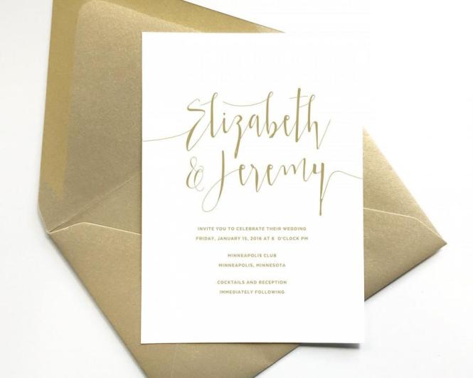 Elegant Gold Wedding Invitations Script Lettering Formal